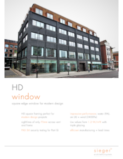 sieger aluminium flush casement windows product data sheet cover page