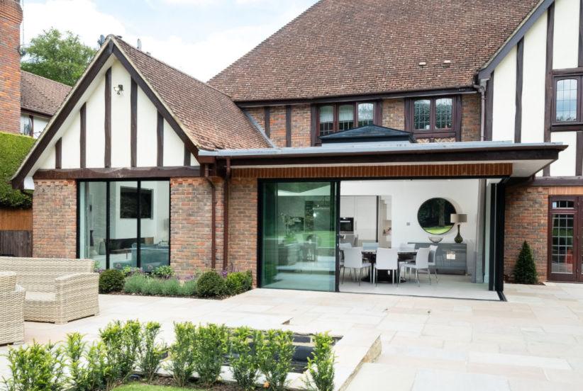 slim framed sliders to a glazed extension in Buckinghamshire