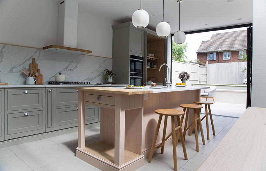 Modern kitchen renovation bifold patio doors