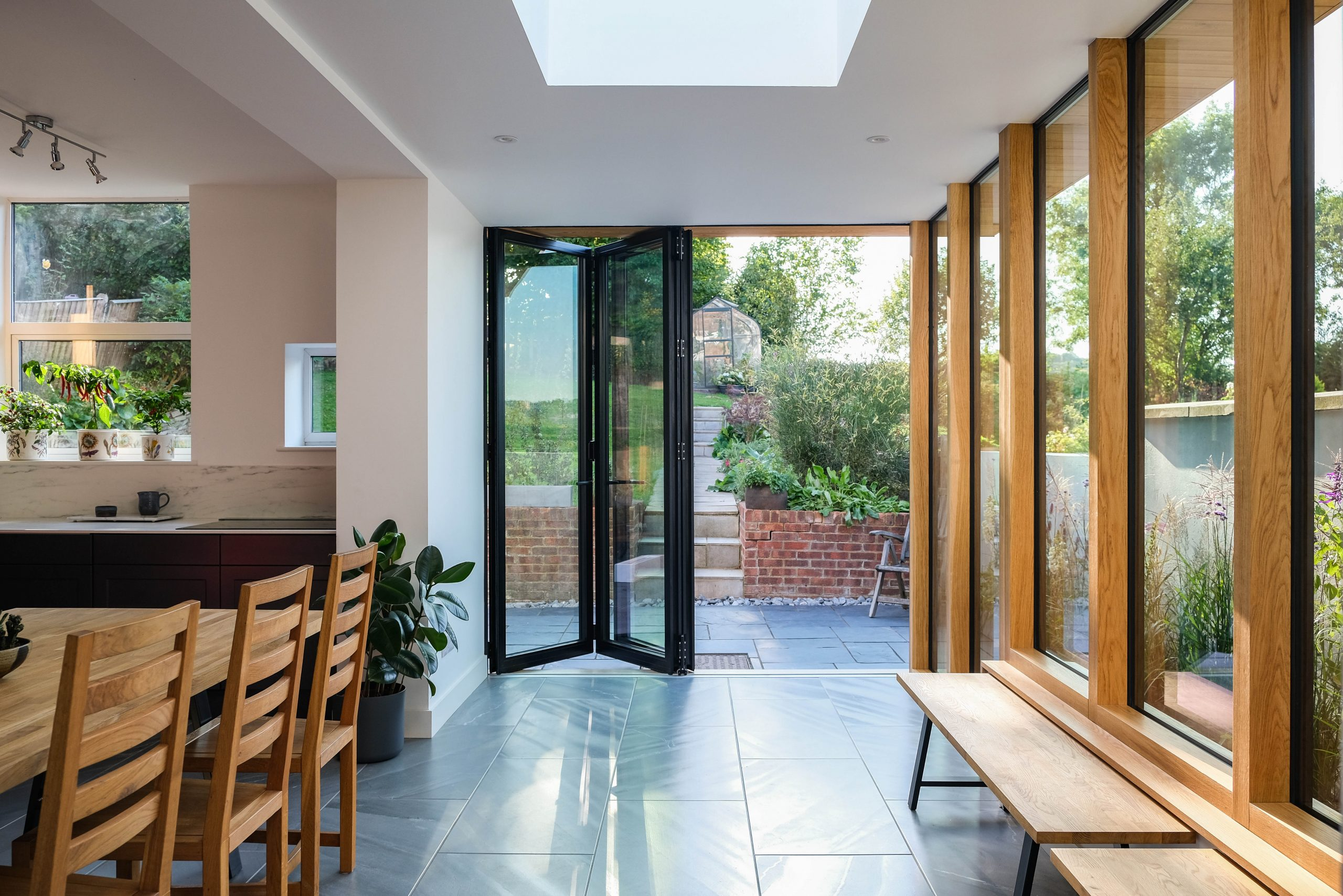 Modern kitchen extension with bifold doors