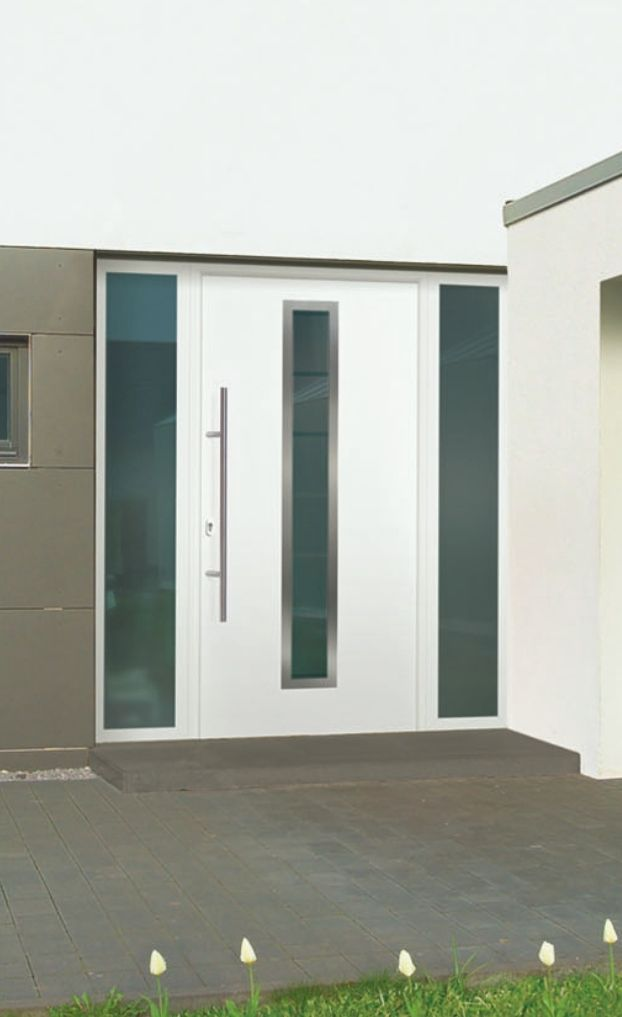 Sieger white entrance door with vertical glazing panel
