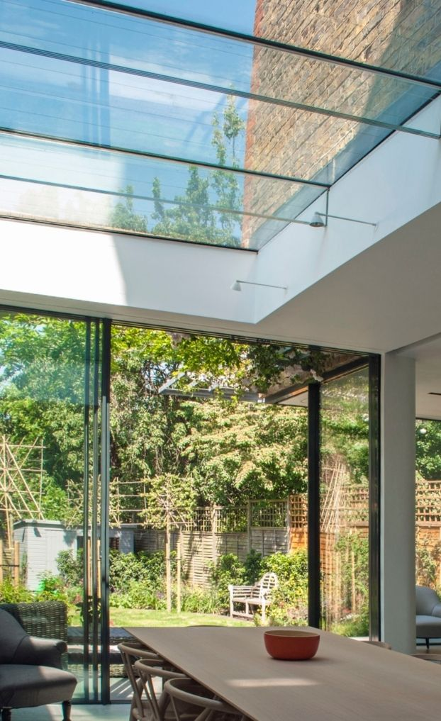 low iron glass used in roof glazing for glass beams