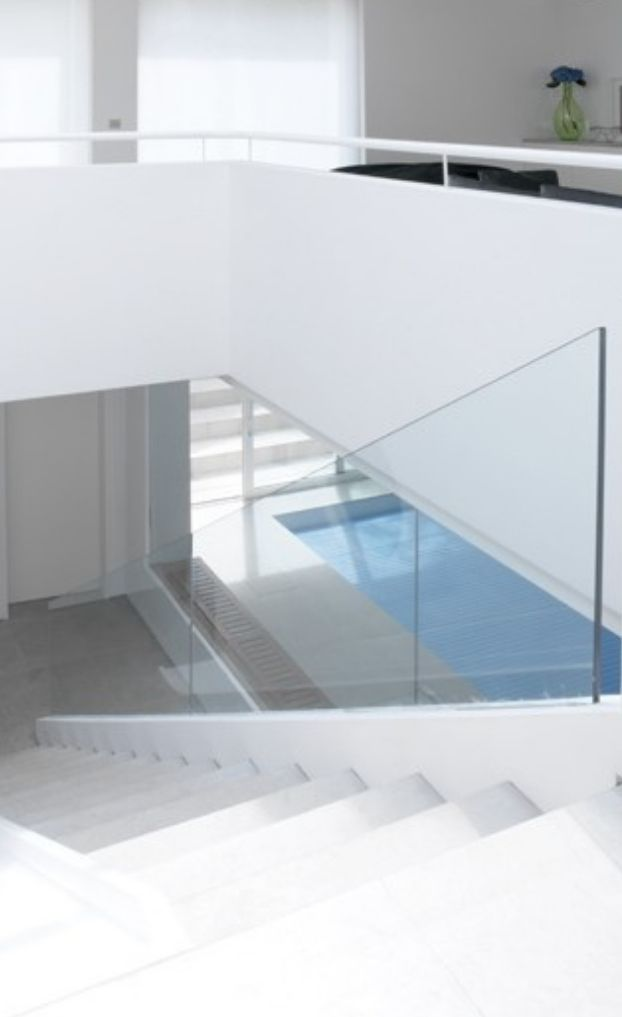 low iron glass used for an internal glass balustrade