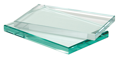 a standard and low iron piece of glass next to each other for comparison