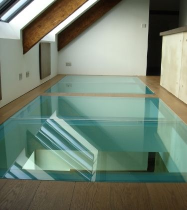 glass floor with a fire rated interlayer