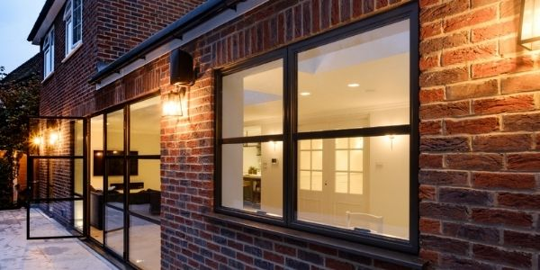 industrial style aluminium casement window with glazing bars