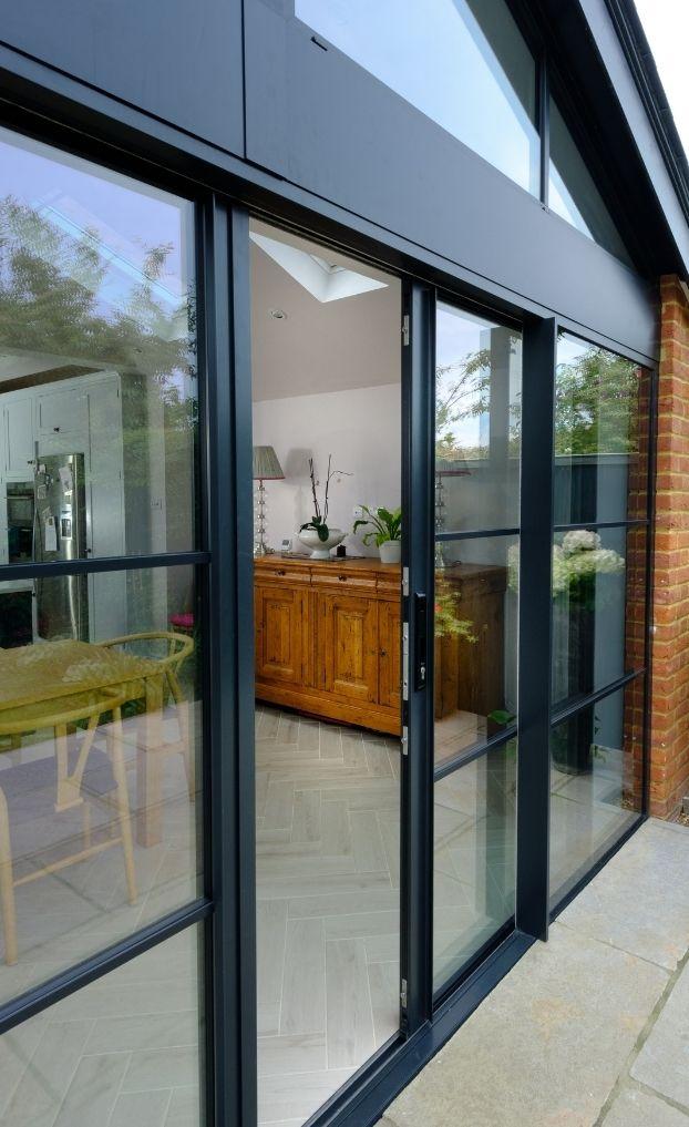 steel look aluminium sliding doors with glazing bars