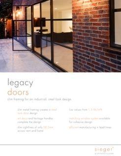 Sieger legacy steel look casement door product data sheet