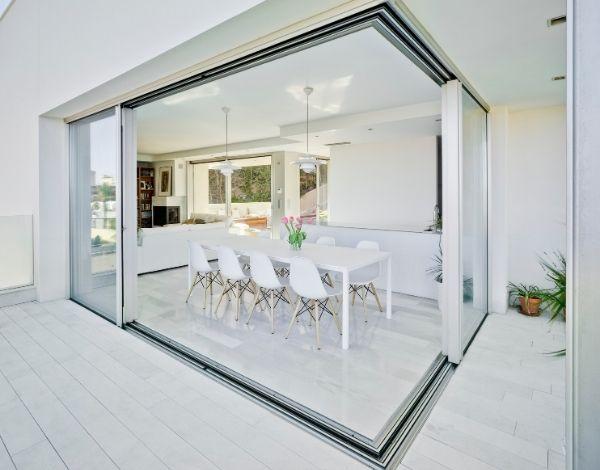 luxury holiday villa - slim sliding glass doors - minimal glass doors in sea view villa