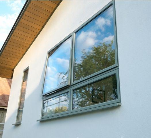 sieger aluminium casement window with grey frames
