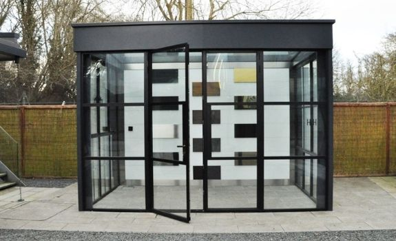 legacy box at the sieger showroom with a steel look casement door and industrial style windows