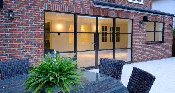 steel look aluminium casement doors with side lights and steel look casement window