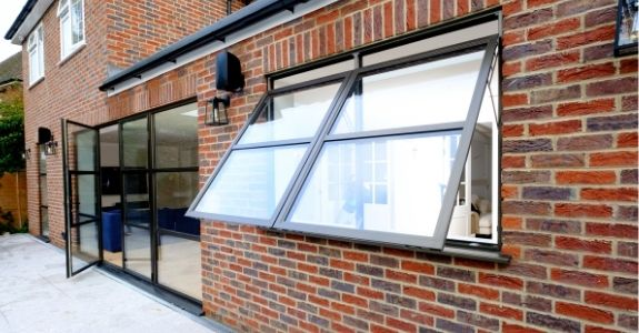 top hung aluminium casement windows with glazing bars for an industrial style design