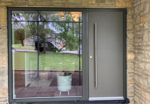 Sieger contemporary aluminium entrance door with 10 point ultra secure lock