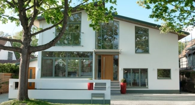 breathtaking new build home with a full aluminium glazing package from sieger including casement windows and a contemporary juliet balcony