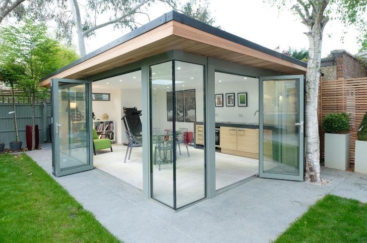garden room with multiple aluminium bifold doors
