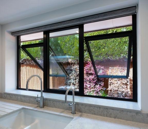 top hung aluminium casement window on a luxury new build home