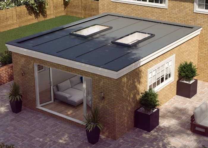 two flat fixed rooflights on a modern home extension to increase natural light