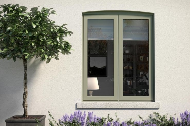 sieger two pane casement window with flush design and green window frames