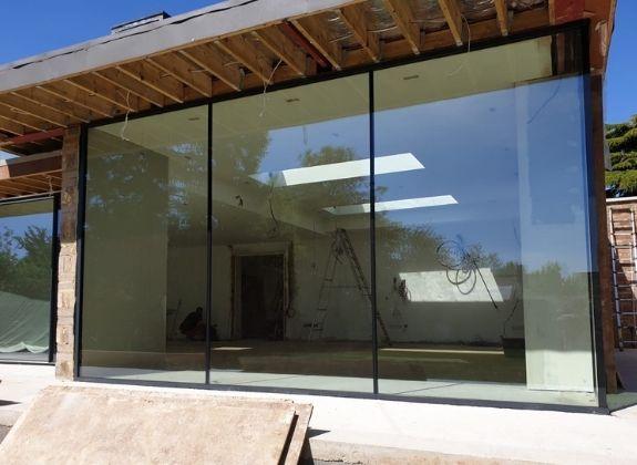 three pane aluminium trade sliding glass door