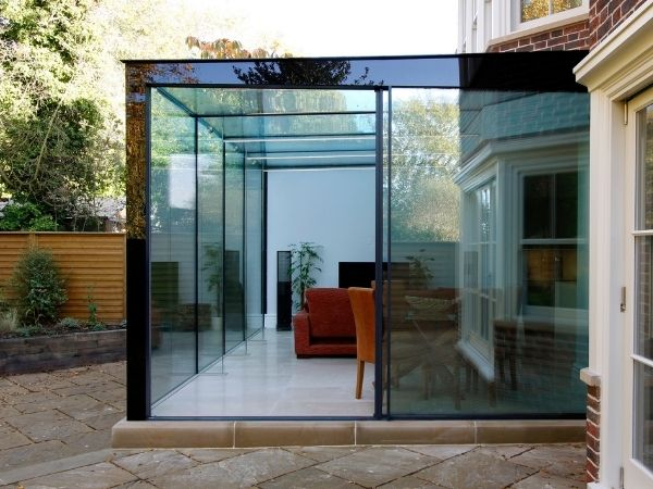 glass box extension with back painted