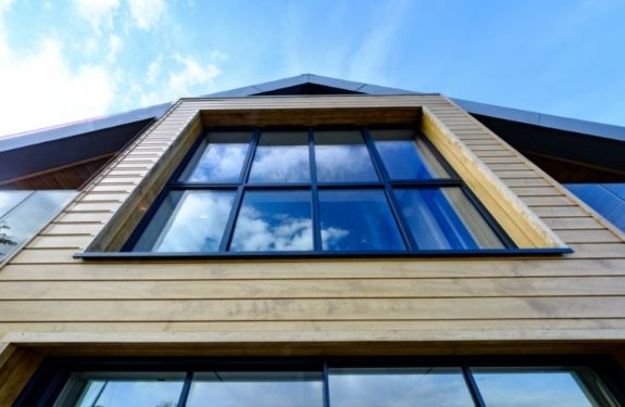 sieger slim casement windows with applied glazing bars for an industrial style aesthetic