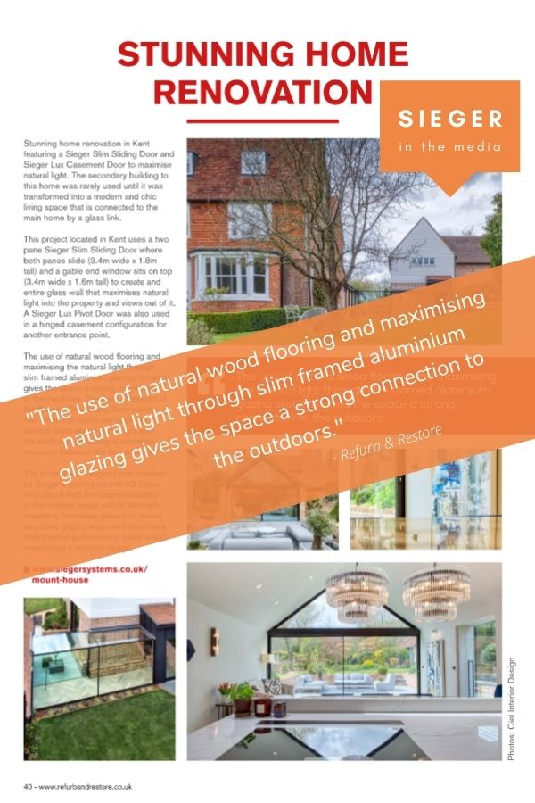mount house home renovation project with sieger slim sliding doors featured in refurb & restore magazine